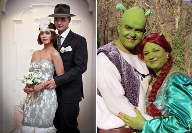 Креативні наречений і наречена можуть приміряти костюми європейських  гангстерів e4a7e37eeced2